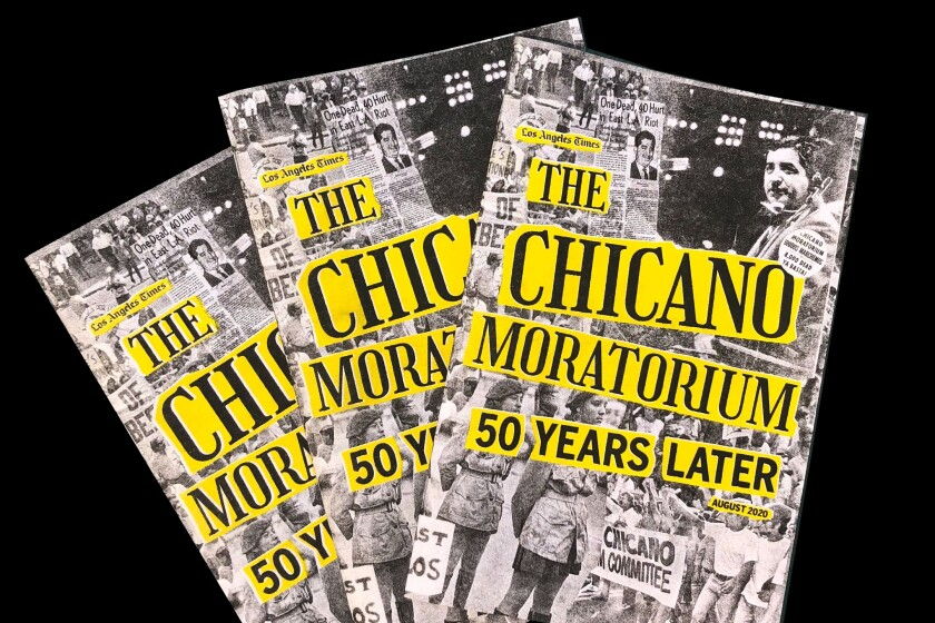 """Three copies of a zine with the title """"The Chicano Moratorium: 50 Years Later"""" over a black-and-white photo collage"""