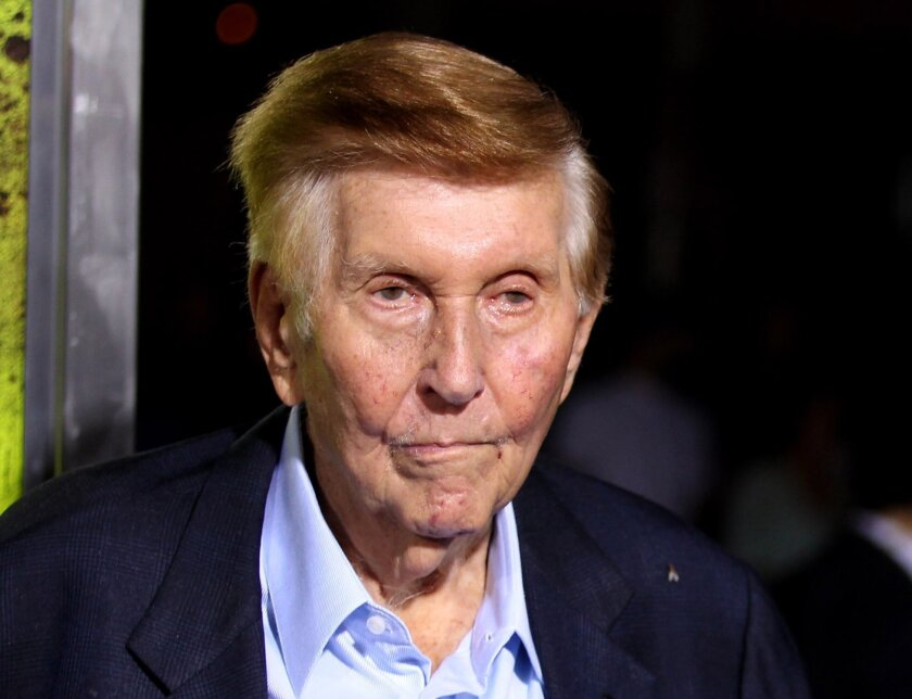 """FILE - In this Oct. 1, 2012 file photo, Sumner Redstone attends the premiere of """"Seven Psychopaths"""" in Los Angeles. Redstone has asked a Massachusetts court to reject a challenge by Viacom's chief executive  Philippe Dauman, who's suing Redstone seeking reinstatement as a director and trustee to en"""