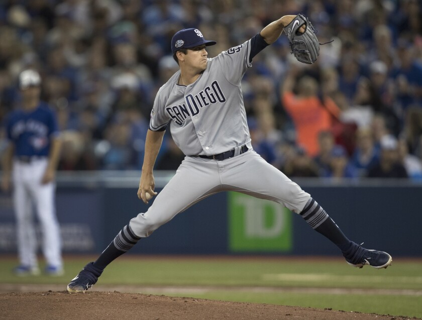 San Diego Padres starting pitcher Cal Quantrill throws against the Toronto Blue Jays during the first inning of a baseball game in Toronto on Saturday, May 25, 2019. (Fred Thornhill/The Canadian Press via AP)
