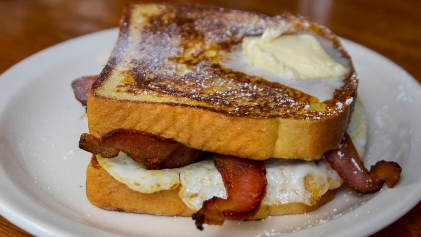 Butter melts on the French toast sandwich at Rocky's Cafe in Felton.