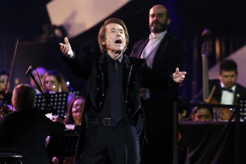 Spanish singer Raphael performs during the International Music Festival of Viña del Mar, Chile, on 25 February 2019. EPA-EFE/Raul Zamora