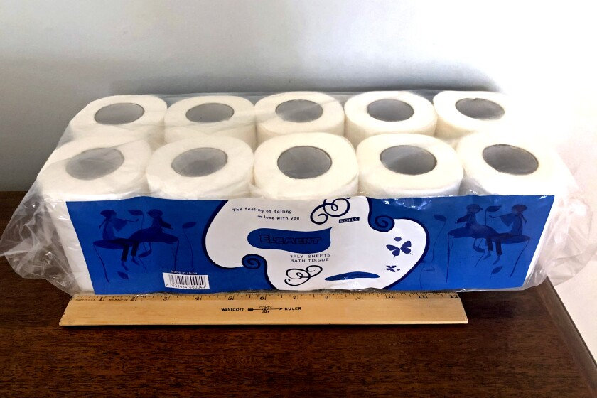 Element toilet paper Beth Franssen purchased from a third-party seller on the Amazon Marketplace. She included the ruler for scale and to show that the rolls do not match the size described in the listing.