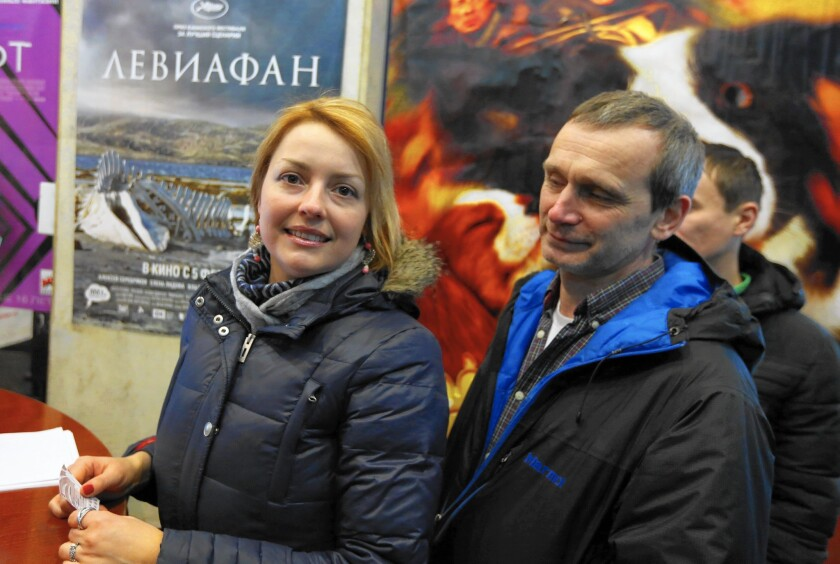 """People line up to buy tickets for """"Leviathan"""" at the Rolan movie theater in Moscow. The film tells the chillingly Job-like story of a common man and his family crushed by a corrupt government."""