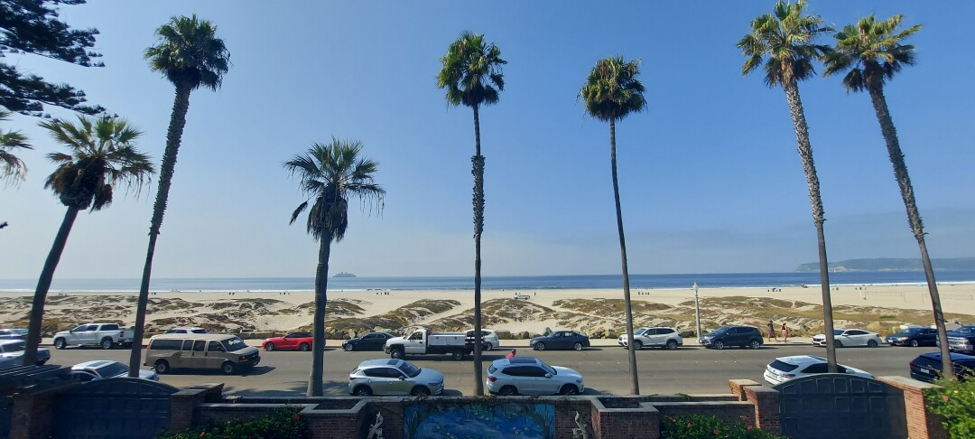 The view of the beach and Pacific Ocean from the second floor of Crown Manor in Coronado.