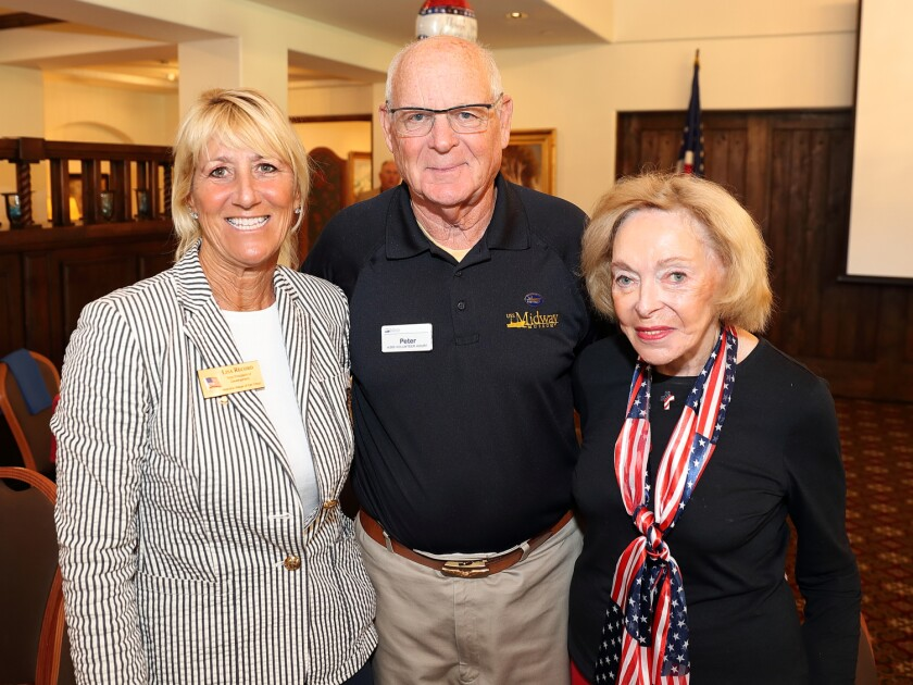 Guest speakers Lisa Record (VP of Development, Veterans Village) and Capt. Peter Kirn (USNR Ret.) with Brett Dieterich