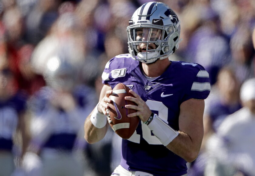 Kansas State quarterback Skylar Thompson looks for a receiver during the first half of the Wildcats' game against Oklahoma on Oct. 26, 2019, in Manhattan, Kan.