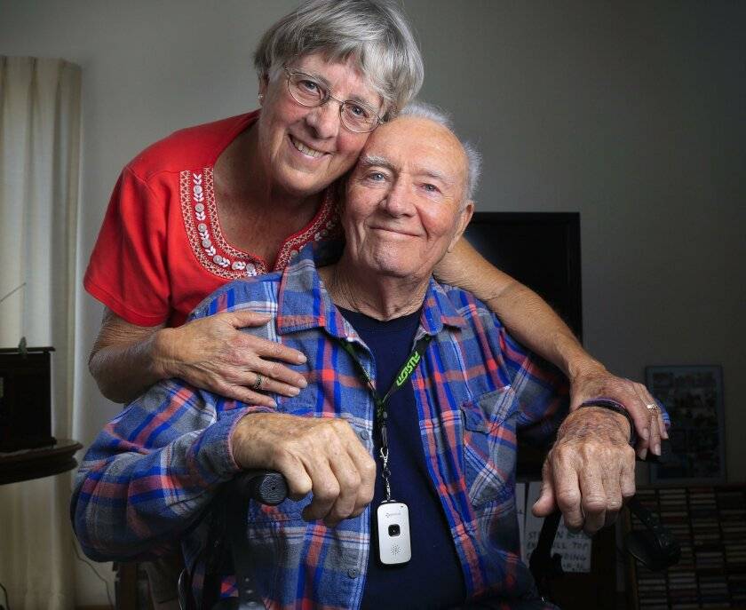 """Daniel Baker of Rancho Bernardo, pictured with longtime companion Barbara Christensen, wears a tracking device called """"Splash"""" that uses satellite GPS and cellphone technology."""