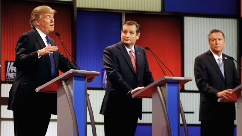 Republican presidential candidates, from left, Donald Trump, Sen. Ted Cruz and Ohio Gov. John Kasich