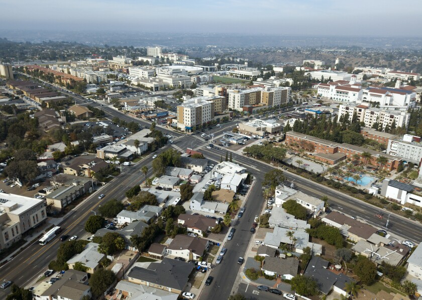 The intersection of College Ave and Montezuma Road looking towards San Diego State University on Nov. 13, 2019.