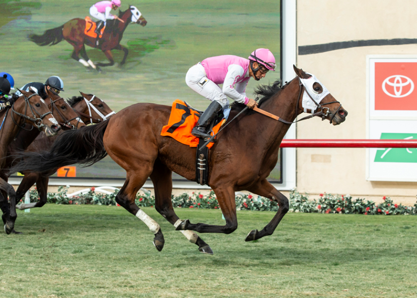 Zuzanna and jockey Paco Lopez won the Red Carpet Stakes on Saturday at Del Mar.