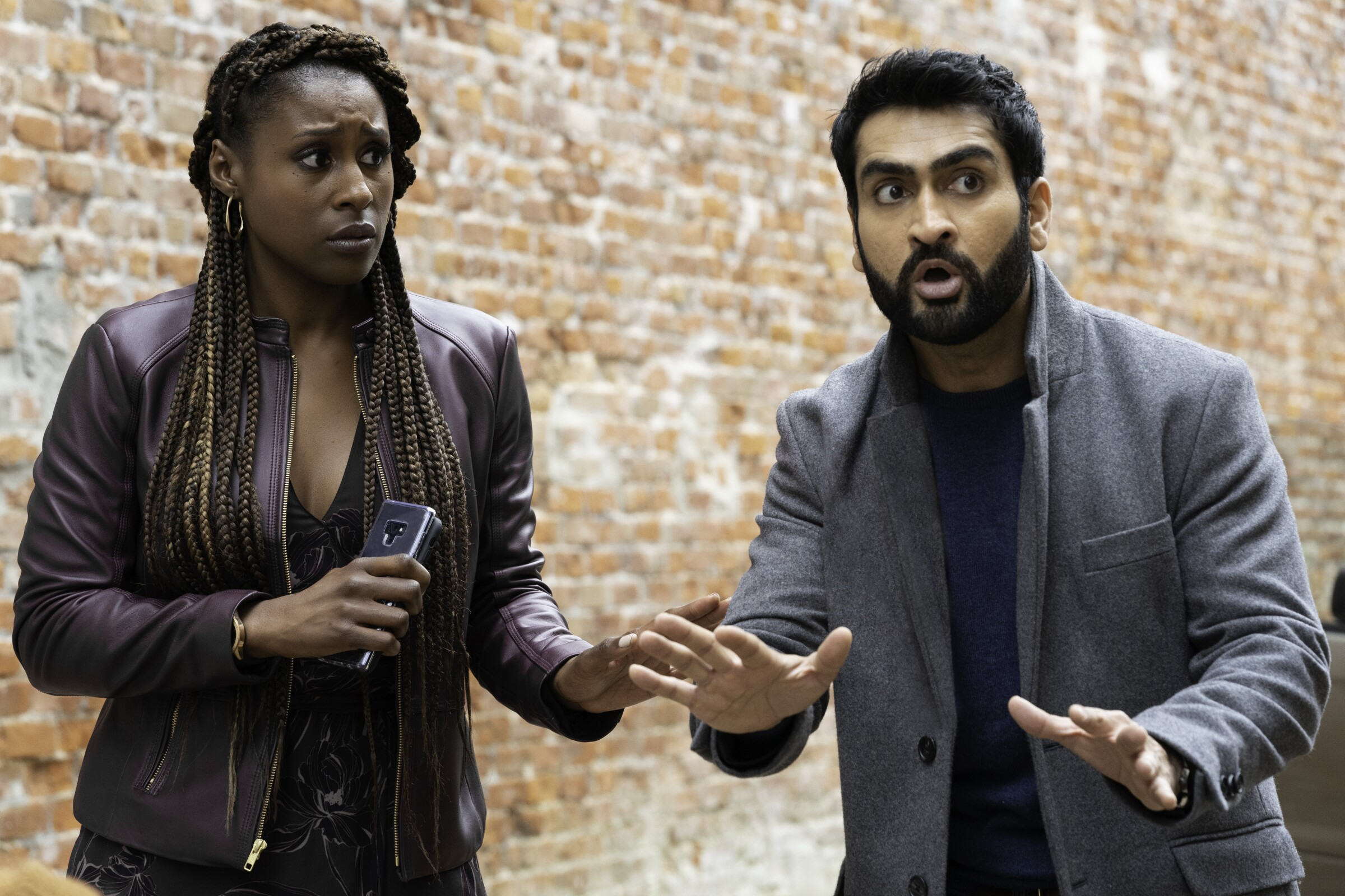 "Issa Rae and Kumail Nanjiani, right, in ""The Lovebirds."""