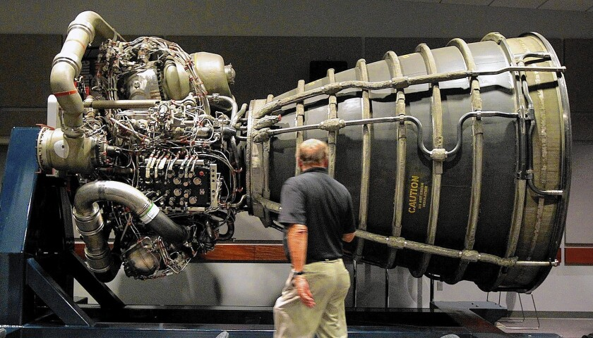 Aerojet Rocketdyne is perhaps best known as the maker of the space shuttles' main rocket engines, one of which is shown at the company's Canoga Park facility.