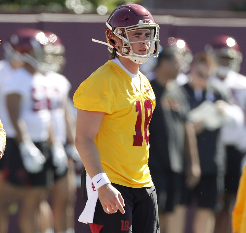 USC quarterback JT Daniels reports to the opening of training camp at USC on Friday. A product of Santa Ana Mater Dei High School, Daniels started for the Trojans last season.