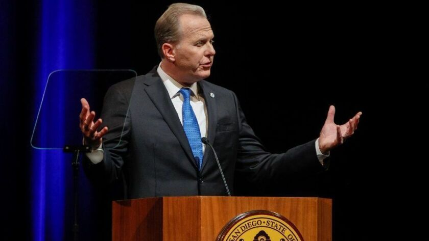 San Diego Mayor Kevin Faulconer, seen here delivering his State of the City speech at the Balboa Theatre last month, assembled a selection committee to recruit a new city auditor that is dominated by his senior aides and other Republicans.