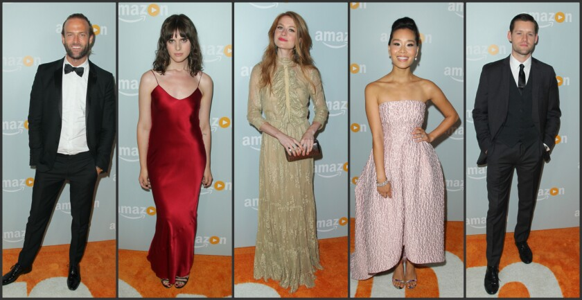 Luke Kleintank, Hari Nef, Genevieve Angelson,  Alicia Hannah,and Nick Hall at Amazon's Emmy celebration.