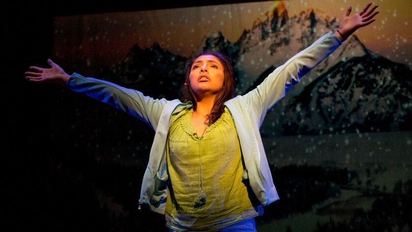 "Kenia Ramirez in San Diego Rep's ""Into the Beautiful North"";"