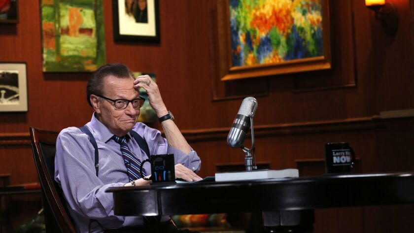 GLENDALE, CA -- MONDAY, MAY 9, 2016 -- Larry King in between segments while taping an interview wit