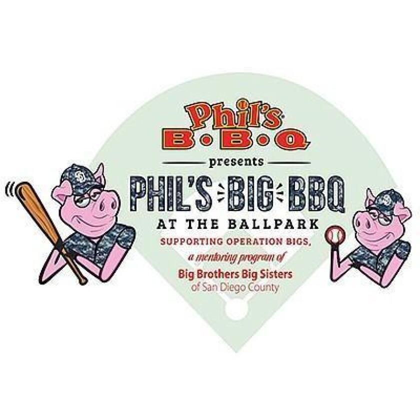 11TH ANNUAL PHIL'S Big BBQ AT THE BALLPARK: 10:30 a.m. to 1 p.m. Sunday, July 14 at PETCO Park, North Tailgate Lot on 14th & K Street. Phil's BBQ, beer garden, entertainment; game against Atlanta Braves begins at 1:10 p.m. Proceeds benefit Big Brothers/Big Sisters' mentoring program Operation Bigs. Tickets $25 at sdbigs.org or philsbigbbq