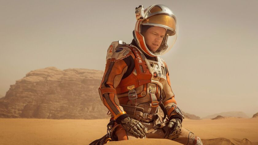 """Matt Damon in the """"The Martian,"""" based on the novel by Andy Weir."""