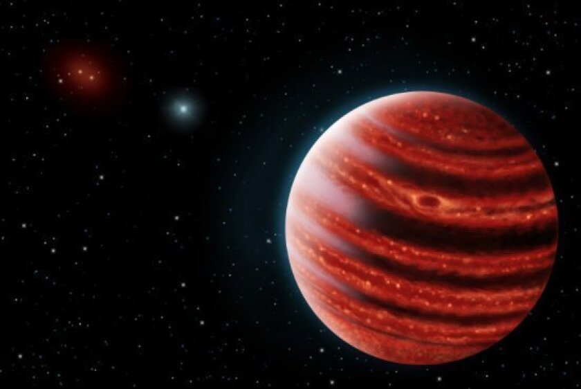 Artist's rendering of 51 Eri b, a Jupiter-like planet that has been discovered in constellation Eridani.