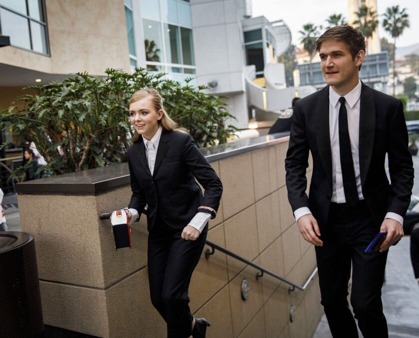 Actress Elsie Fisher, 15, and director Bo Burnham walk over to the Academy of Motion Picture Arts an