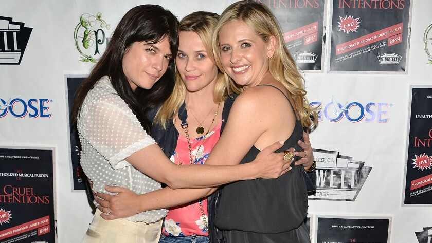 """Selma Blair, Reese Witherspoon and Sarah Michelle Gellar attend """"The Unauthorized Musical Parody Of Cruel Intentions"""" at Rockwell Table & Stage in Los Angeles on May 28."""