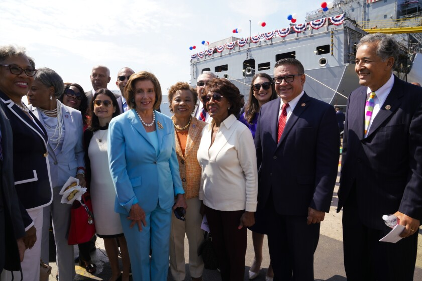 At General Dynamics-NASSCO House Speaker Nancy Pelosi meets with guests after the christening of the John Lewis.