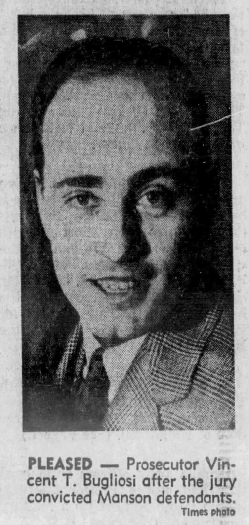 Prosecutor Vincent T. Bugliosi after the jury convicted Manson defendants.
