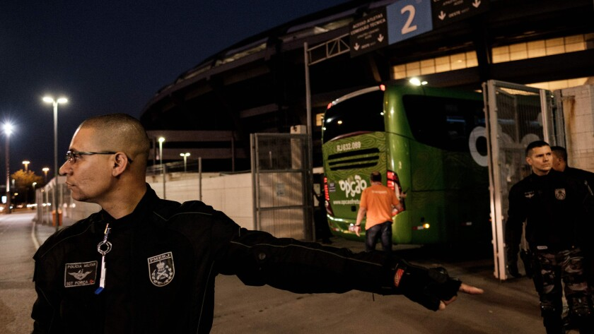 Brazilian police carry out a security drill ahead of the Olympic games at Maracana Stadium in Rio de Janeiro.