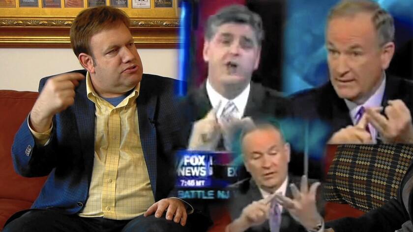 In an image from the film, pollster Frank Luntz, left, shares the screen with Fox News' Sean Hannity and Bill O'Reilly.