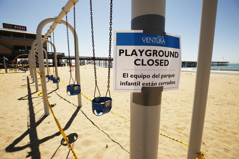 A beach playground in Ventura is closed because of the pandemic.