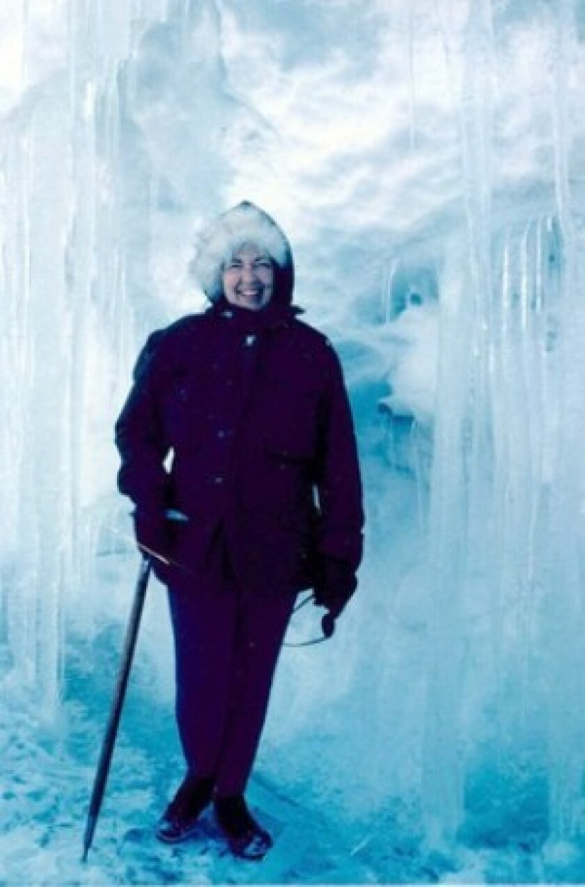 Edith Ronne on a return trip to Anarctica in 1971. The wife of an explorer, Ronne was the expedition's recorder-historian when she first made the trip in 1947. She kept a daily diary in which she recorded a range of experiences.