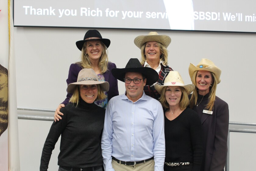 Solana Beach School District trustees and superintendent wore cowboy hats to honor board member Rich Leib at his last school board meeting.