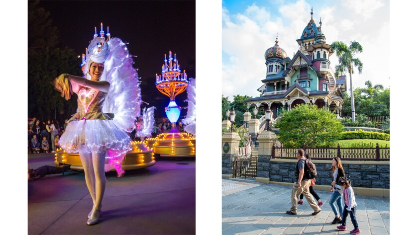 "The ""Paint the Night"" parade, left, winds through Hong Kong Disneyland. Mystic Manor, right, appears to be a Haunted Mansion clone.  But the trackless ride system, a real storyline, and truly special effects combine for a fresh adventure."