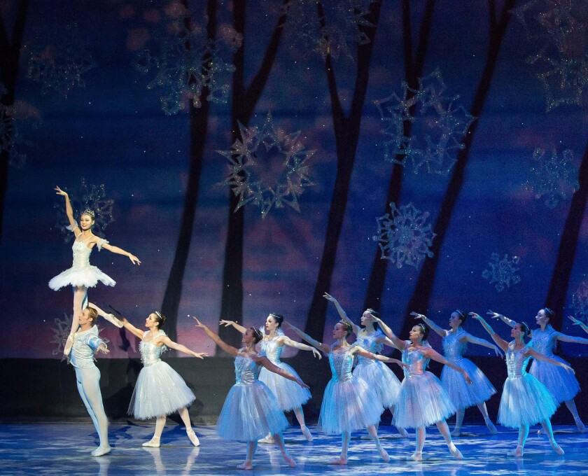 "Dancers from the ""snow corps"" in Long Beach Ballet's performance of ""the Nutcracker."" Who: Long Bea"