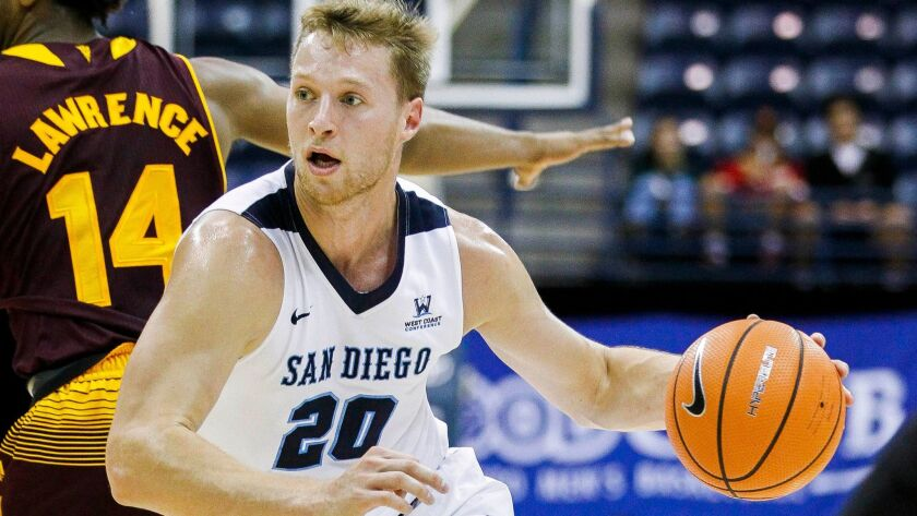 SAN DIEGO, November 1, 2017 | USD's Cameron Neubauer during the first half of exhibition game agains