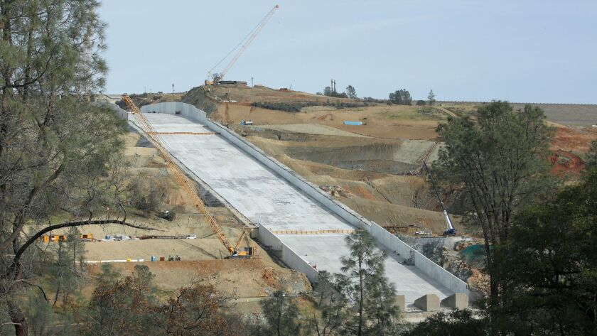 The Oroville Dam spillway could get its first test soon after a storm drops several inches of rain in Northern California.