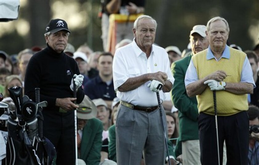 From left, honorary players Gary Player, Arnold Palmer and Jack Nicklaus wait to tee off on the first hole before the first round of the Masters golf tournament Thursday, April 5, 2012, in Augusta, Ga. (AP Photo/Matt Slocum)
