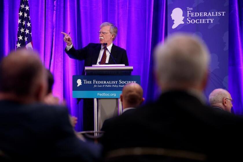 El asesor de seguridad Nacional de la Casa Blanca, John Bolton, pronuncia su discurso durante el almuerzo de la Sociedad Federalista, en Washington (EE.UU), el 10 de septiembre de 2018. EFE/Archivo