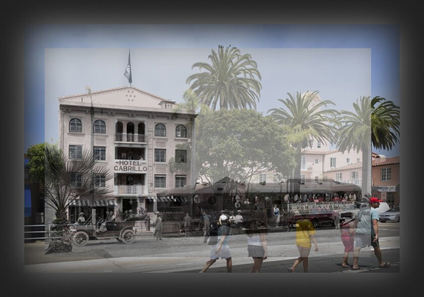 This image from 'The Irving gill Photographic Project' exhibit superimposes the Hotel Cabrillo (circa 1908) with what is today La Valencia Hotel (2014). Contemporary image by Philipp Scholz Rittermann; historic view from San Diego History Center archives.