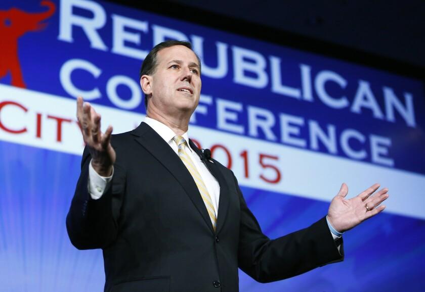 Pennsylvania Sen. Rick Santorum speaks at the Southern Republican Leadership Conference in Oklahoma City on May 21, 2015.
