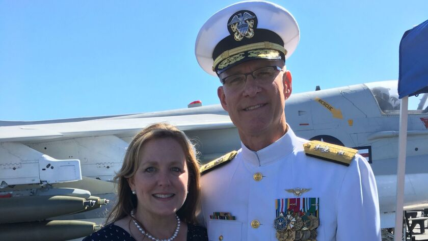 Read Adm. Yancy B. Lindsey and his wife, Stacey, aboard the USS Midway Museum after Friday's change of command ceremony for Navy Region Southwest.