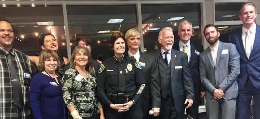PB BOOSTERS: Posing together at the January 2018 Town Council Installation Dinner at Mission Bay Yacht Club are (front row) Denise Willet Friedman, out-going District 2 City Council member Lorie Zapf, former San Diego Police Chief Shelley Zimmerman and (back row) Bill Nicholl, Marcella Bothwell, Andrew Bryl, Greg Daunoras, Michael McQuary, Karl Rand, Jordan Beane and Brian White.