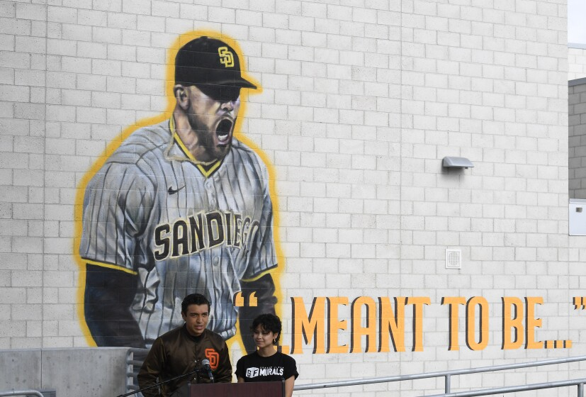 unveiling a mural of San Diego Padres pitcher Joe Musgrove at Grossmont High School