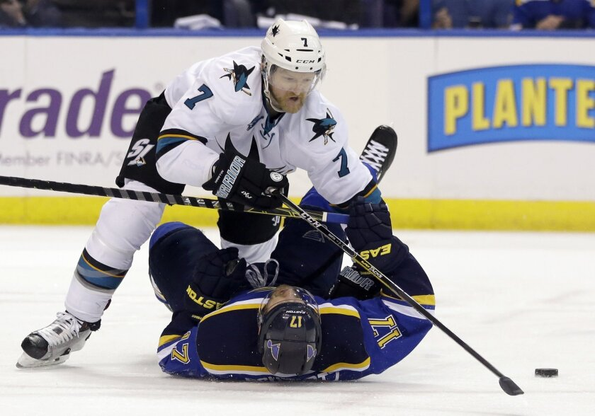 In this Monday, May 23, 2016 file photo, San Jose Sharks defenseman Paul Martin (7) chases the puck against St. Louis Blues left wing Jaden Schwartz (17) during the second period in Game 5 of the NHL hockey Stanley Cup Western Conference finals in St. Louis. Martin and the Sharks will be playing th