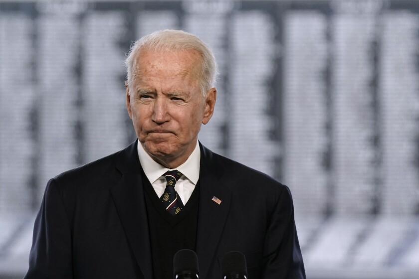 President Joe Biden speaks at a Memorial Day event at Veterans Memorial Park
