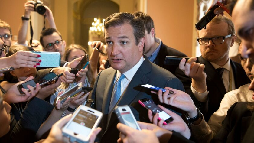 Sen. Ted Cruz (R-Texas) defends his handiwork after a new version of the Senate GOP's repeal plan for Obamacare was unveiled Thursday.