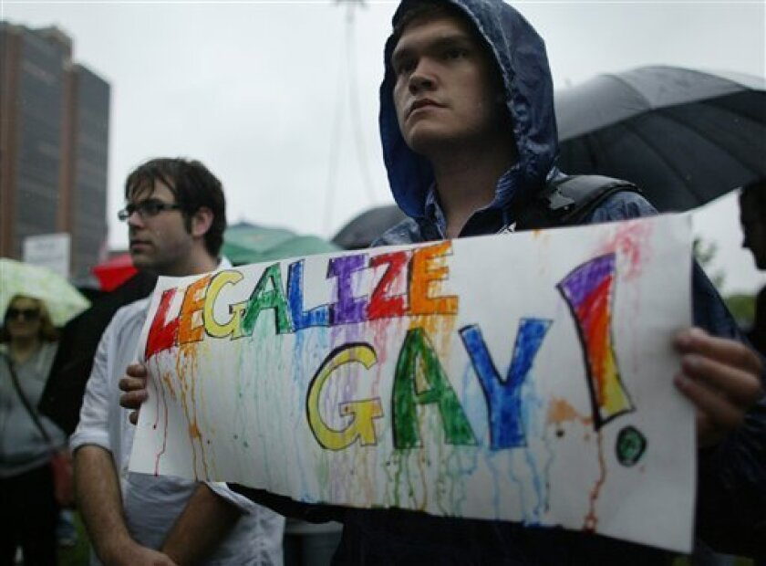 Andrew Damron participates in a demonstration for gay rights at Independence Hall in Philadelphia on Sunday May 3, 2009. (AP Photo/ Joseph Kaczmarek)