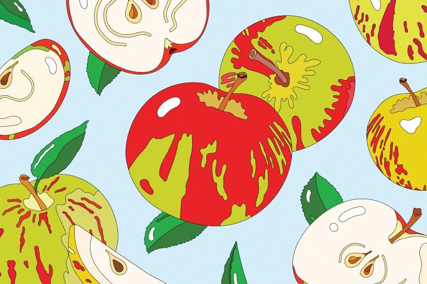 An illustration of several apples