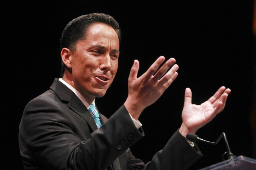 San Diego Interim Mayor Todd Gloria gives his State of the City Address at the Balboa Theater in San Diego on Wednesday.